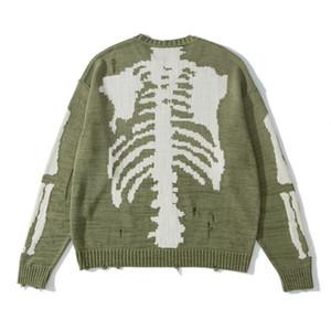 2020 зима новый дизайнер мужской скелет печати и дырка украшения свитеры ~ свитер РАЗМЕР США свитер ~ новый дизайнер мужской