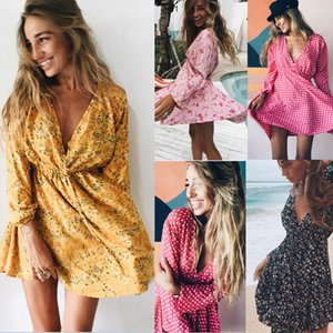Women Summer Floral Long Sleeve Dress Evening Party Summer Beach V Neck Sundress Summer Style Bohemian Beach Dress