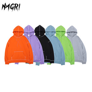 6colors Männer Hoodie Frühling Herbst Hip Hop Street Männer Pullover Sweatshirts Solid Color Art und Weise beiläufige Hoodies