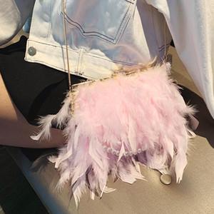 2020 Luxury Chic Handbags Women Famous Brands Ostrich Feather Purses Handbags Women Bags Designer Chain Evening Party Clutch Bag