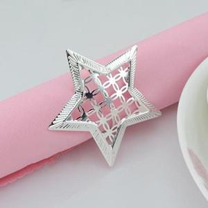 Décor étoile serviette de table Anneaux évider en métal Anneaux Anniversaires Mariages Napkin Rings Dinner Party Décoration serviette Boucle TQQ BH3170