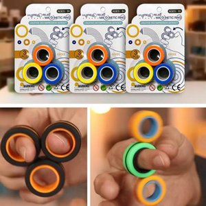 Magnetic Ring Toy Stress Relief Fidget Sensory Toys Set Colorful Durable Unzip Bracelet Magic Toy Fidget Bracelets & Rings For Stress
