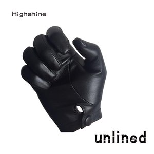 highshine man wrist button one whole piece of sheep leather gloves black and brown 201019