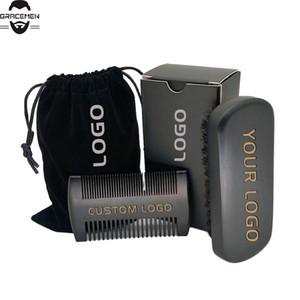 MOQ 100 pcs Barbe Noire Kit OEM ODM logo personnalisé Outils Barbe Entretien Barbe Peignes Brosse cadeau boîte sac en velours avec personnalisé LOGOS