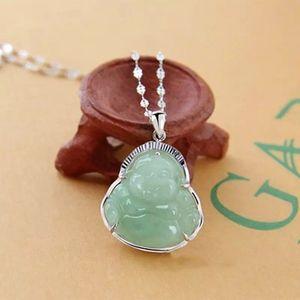 Gümüş kolye Maitreya Buda Gümüş Kakma Jade Buda Doğal Bir Eşya Yeşim Buda kolye