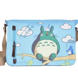 anime japonais entourant sac épaule épaule toile Totoro Totoro laver toile bleu sac messenger sac à dos