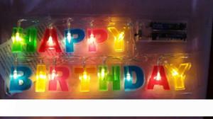 """متعدد الألوان رسالة """"HAPPY BIRTHDAY"""" LED سلسلة أضواء LED رسائل الأنوار لعيد ميلاد زينة - ديكور المنزل عيد ميلاد الحزب ملحق"""