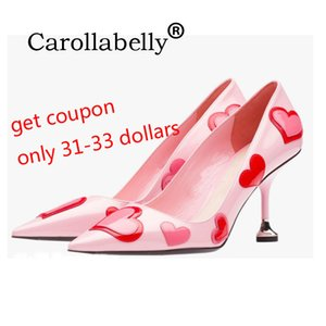 2020 Carollabelly Heart Pink Shoes Women Colourful Pumps Pointed Toe Sweet High Heels Pretty Wedding Party Shoes