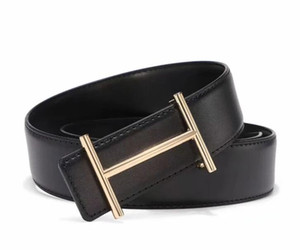New style men's fashion business casual belt gold and silver buckle leather belt