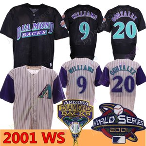 2001 WS Jerseys 9 Matt Williams 20 Luis Gonzalez Creme Pinstripe Black Mesh Home Away Alle genäht