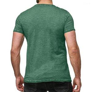 Drapierte Männer Shirts Designer-Knopf Rundhals Kurzarm Vintage-Tops Men Casual Tees Modedesigner beiläufigen Pure Color
