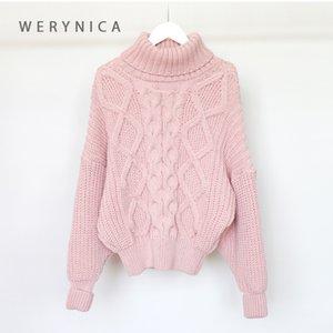 ropa de invierno jersey de cuello alto de las mujeres Werynica mujeres de gran tamaño suéter poluver gran grueso de tejer coreano mujeres del estilo elegante Y200819