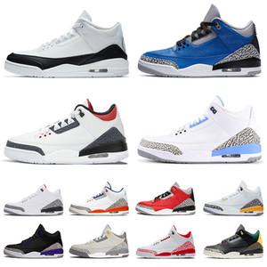 nike air jordon 3 retro jordans 3s jumpman Para mujer para hombre de los zapatos 3 3S Jumpman de baloncesto del equipo Fragmento UNC Chicago cemento mujer zapatillas de deporte