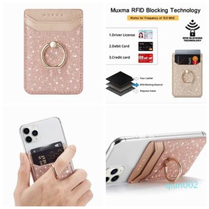 Telefon Bling Glitter Evrensel Çubuk Nakit Kimlik Kredi Tutucu Kapak iPhone Most için metal Parmak Halkası Parantez Kart Yuvası 3M Sticker Deri