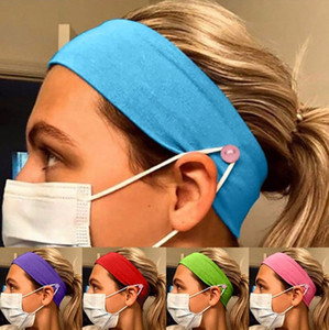 Pure Color Button Mask Headband Anti-leaf Ear Protection Cotton Stretch Yoga Fitness Men And Women Sports Facial Wash Hair Accessori EEA1924
