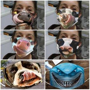 Ventilação Respirador de poeira Mascarilla reutilizáveis Rosto Algodão Máscara Padrão Mulheres Homens Outdoor Ciclismo Sunscreen Leão animal do cão do lobo 4 5JQ D2