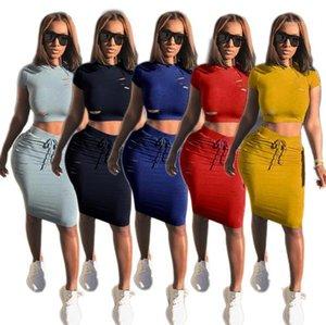 Delik Şeker Renk İki ile Piece Elbise Moda Kadınlar Kısa Kollu Trendy 2adet Setleri Kadınlar Tees Etekler