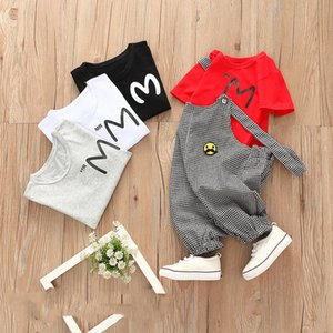 Kids children clothing suit autumn Baby clothing sets T-shirt+plaid overalls child wears boys girls set Fashion Casual Comfortable E074