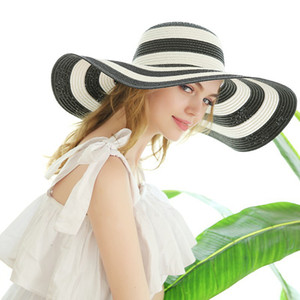 6color rayadas playa de sombreros paja de las mujeres sombrero de ala Classic Girl Negro y de la vendimia rayada blanca del borde grande ancho sombrero de Sun Caps GGA3631