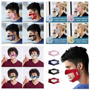 Görünür Ağız Yüz Kapak Anti Toz Yeniden Yıkanabilir Yüz Maske Kamuflaj Ekose Maske Yetişkin Sağır-dilsiz Şeffaf Tasarımcı Maskeler CYZ2643 100Pcs