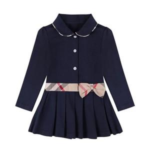 las niñas se visten de otoño 2020 INS nuevas llegadas muchachas de la manga larga de algodón de alta calidad de la solapa de tela escocesa del arco vestido