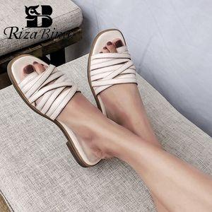 RIZABINA Sommer-Frauen Echtes Leder Sandalen Schuhe Fashion Low Heels Slippers Solid Color Schuhe Women Casual Schuhe Größe 32-44