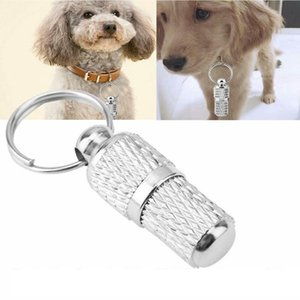 Pet Dogs safety Tag puppy cat Collar Metal pendant anti-lost pet collar necklace with name phone number address Secret Barrel Tube DHC1041