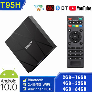 Новый T95H Android10.0 TV Box 2.4G + 5G Wi-Fi Allwinner H616 4GB + 32GB / 64GB 6K С BT Set Top Box PK T95 H96