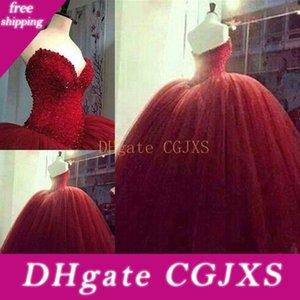 Красный Quinceanera платья без бретелек бальное платье тюль бисером верхняя часть высокого качества официально платье для школы Luxury Pageant платье