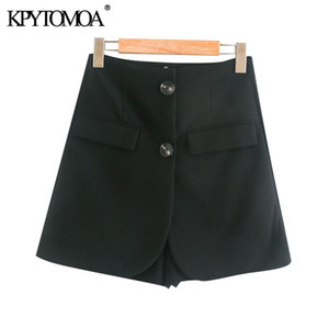 KPYTOMOA Women 2020 Chic Fashion Double Button Shorts Skirts Vintage High Waist Office Wear Female Skort Mujer