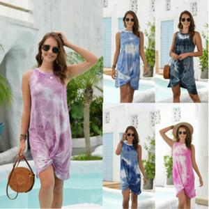 Frauen Ärmel Tie-Dye-Kleid 2020 neue Trend-Art-Sommer-Kleid-hochwertige Frauen Panelled Mode Kleider Aktiv neue Kleider