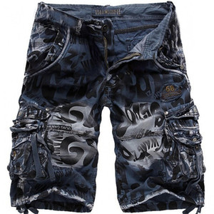 Uomini Jean pantaloncini estivi Camouflage knee-lunghezza casuale del lavoro Denim Shorts Plus Size Man brevi jeans nessuna cinghia