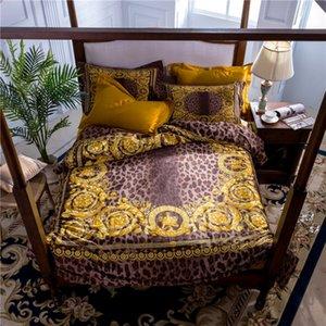 100s Pamuk Tasarım Marka 5adet Lüks Leopard Baskı Yatak takımları kral nevresim yastık kılıfı Kral kraliçe nevresim takımları