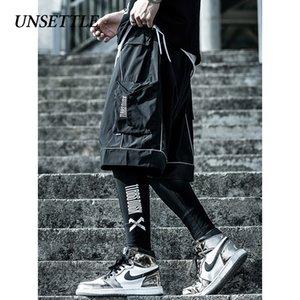 Tedirgin Erkekler Hip Hop Kısa Koşucular Streetwear Harajuku Kargo Şort Yaz Tatical Kısa Yansıtıcı eşofman Cepler