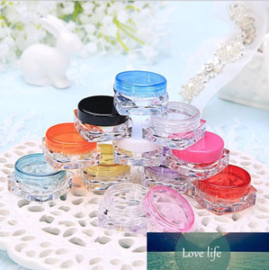 3g Plastic Cosmetic Container Nail Polish Cream Sample Bottle Empty Lip Balm Packing Square Bottom Jar Free Shipping
