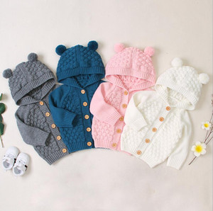 Bebek Çocuk Giyim Hırka Örme Kapşonlu Boyun Katı Renk tasarımı uzun Bebek oğlan kız giyim kazak örme kollu