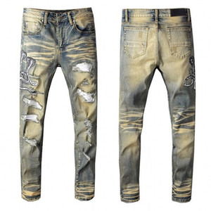 New High quality Mens jeans Distressed Motorcycle biker jeans Rock Skinny Slim Ripped hole printing Famous Brand Denim pants jea