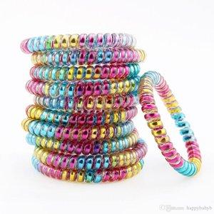 Commercio all'ingrosso Colorful Rainbow legare di telefono del supporto del cavo linea di gomma elastica dei capelli della fascia del legame dei capelli Scrunchy Accessori per capelli