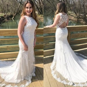 2021 Summer Bohemian Mermaid Wedding Dresses Scoop Hollow Back Illusion Appliques Lace Sweep Train Country Bridal Gowns Vestidos