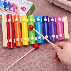 Hölzerne Hand auf Acht-Ton Klavier Kinder knock knock on piano Perkussionsinstrument Satz Baby pädagogische Früherziehung Spielzeug