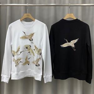 20SS para hombre de la grúa Imprimir caliente cuello redondo de la camiseta de la calle alta calidad mujeres de los hombres suéter sudaderas otoño invierno Outwear el tamaño S-XL
