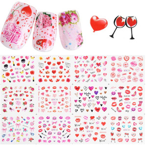 12 Design Valentine Nail Sticker Water Transfer Decal Watermark Slider Rose Lipstick Balloon Nail Art Tattoo Tip LABN745-756-1