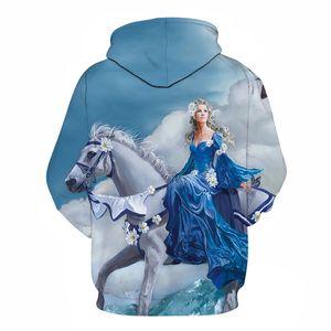 HorsePrincess 3D Print Sweatshirts Hommes Pull Hauts de survêtement à capuche Automne Hiver Manteau à capuchon Marque Drop Ship ZOOTOP OURS MX200813