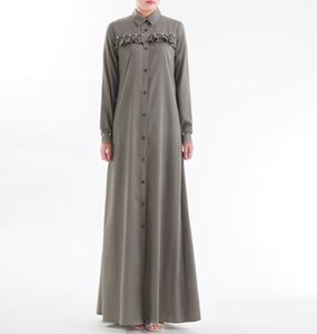 New Womens Long Skirt Robe Coat Ethnic Clothing Beaded Cotton Factory Direct Cross-Border Special for T200801