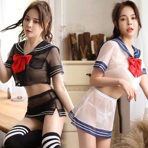 Mesh Perspective lingerie sexy marin mignon Uniforme étudiant Femmes érotique Cosplay Costume Jeu de rôle School Girl Underwear Uniforme