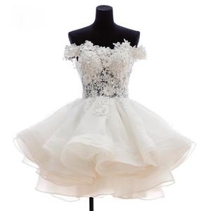 2019 encantador a corto Fiesta Vestidos de novia flores de organza de graduación Dresse Prom Party formal del vestido WD179