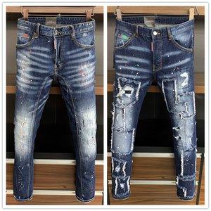 Mens 2020 Luxus designe klassische Art und Weise Marke Jeans Männer stilvoller ausgefranster Patchwork Jeans Hip Reißverschluss Taschen beiläufige dünne Jeans-Hose Design