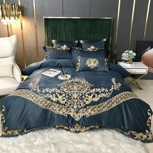 فاخر الأوروبي الملكي تطريز الذهب 60S الحرير الحرير القطن لينة الفراش مجموعة غطاء لحاف السرير ورقة جاهزة الكتان وسادات