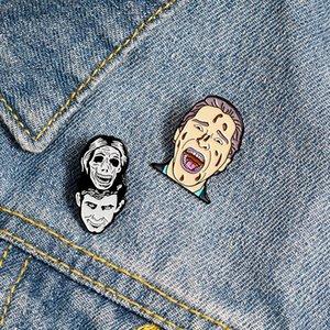 Qihe TAKI Gerilim Komik Film Emaye Yaka iğneler Kafatası Emaye yaka iğnesi Punk İskelet Broş Hediye İçin Arkadaş Toptan