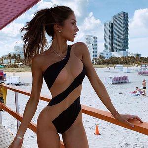 Female Sexy Black see through Mesh one pieces swimsuit bikini 2020 One shoulder swimwear women Bodysuit slim Patchwork bathing suit monokin